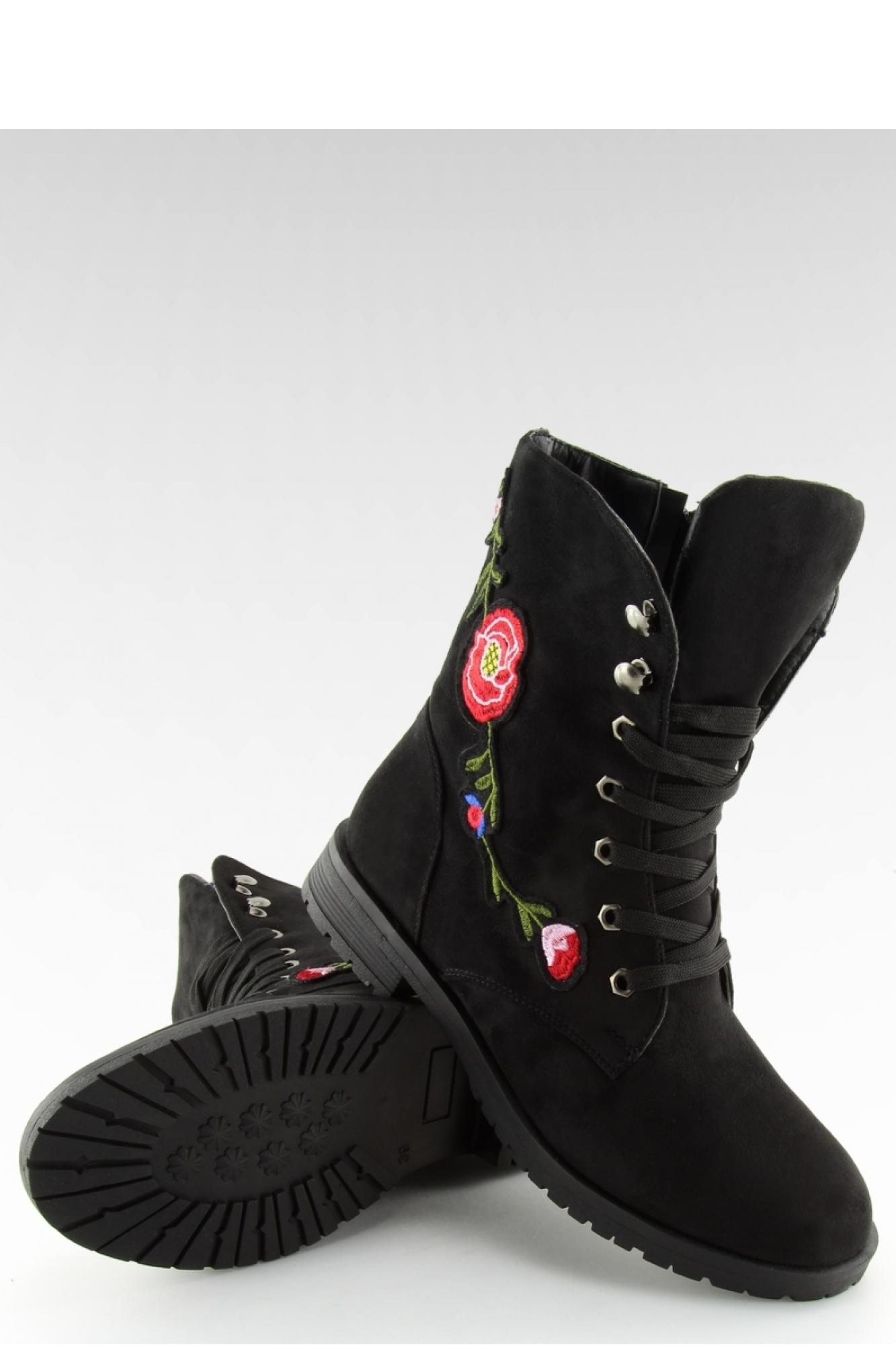 23f9f181f57e7 Inello - Женская обувь WORKERY Z HAFTEM CZARNE AB-9 BLACK - Inello ~Workery