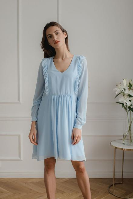 Lenitif  L083 Платье Голубой оптом