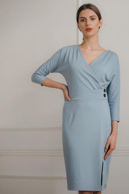 Lenitif  L086 Платье Голубой оптом