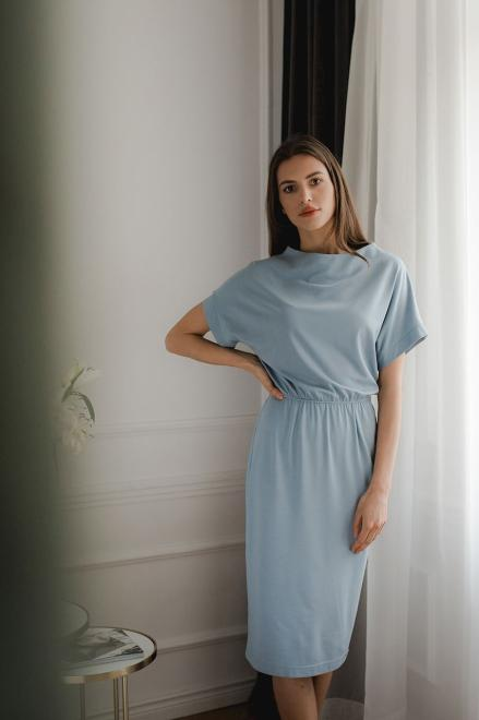 Lenitif  L087 Платье Голубой оптом