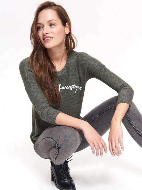 TROLL  t-shirt damski, z nadrukiem TPL0122 Футболка Зеленый оптом