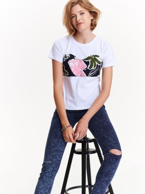 TROLL  t-shirt damski z ciekawą aplikacją w kwiaty wiązaną z tyłu TPO1566 Футболка Белый оптом