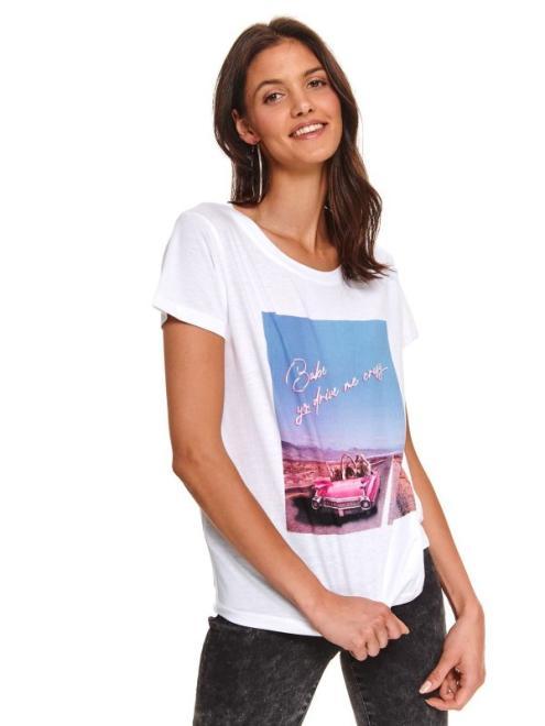 DRYWASH  t-shirt krótki rękaw damski  z printem DPO0372 Футболка Белый оптом