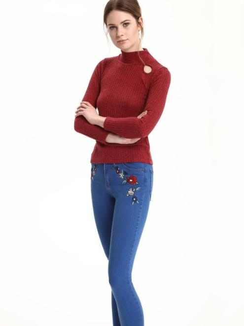 TROLL  sweter długi rękaw damski    TSW0791 Свитер Красный оптом