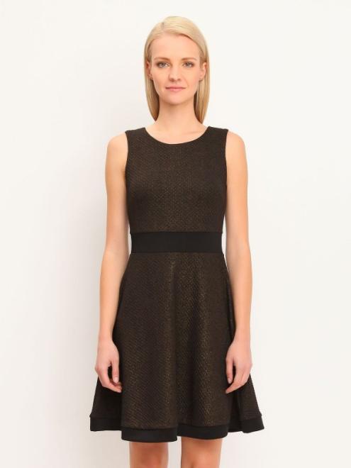 TROLL  sukienka damska z fakturą TSU0483 Платье Черный оптом