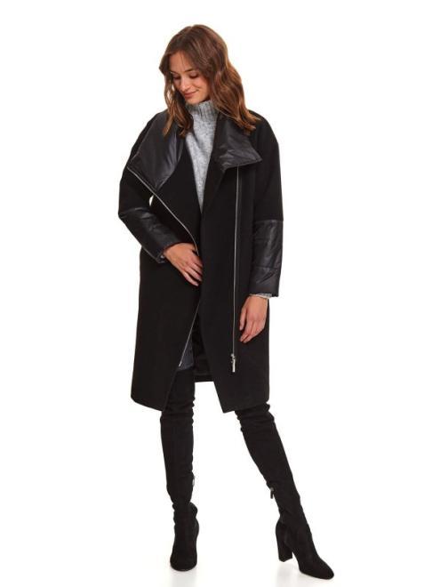 TOP SECRET  Komfortowy płaszcz z łączonych tkanin SPZ0553 Плащ Черный оптом