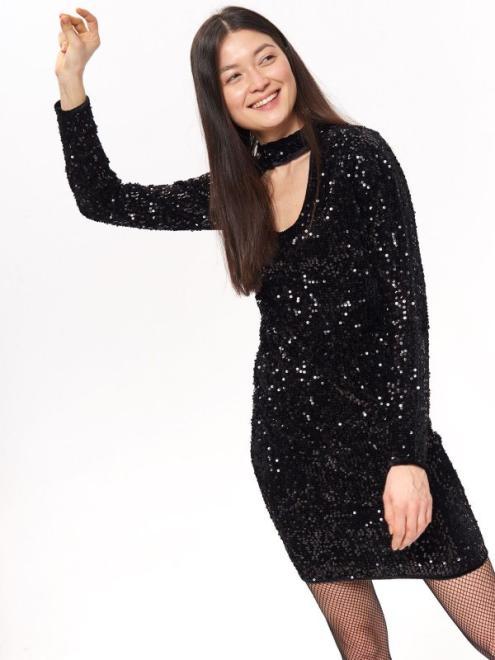 TROLL  sukienka damska z cekinami TSU0731 Платье Черный оптом
