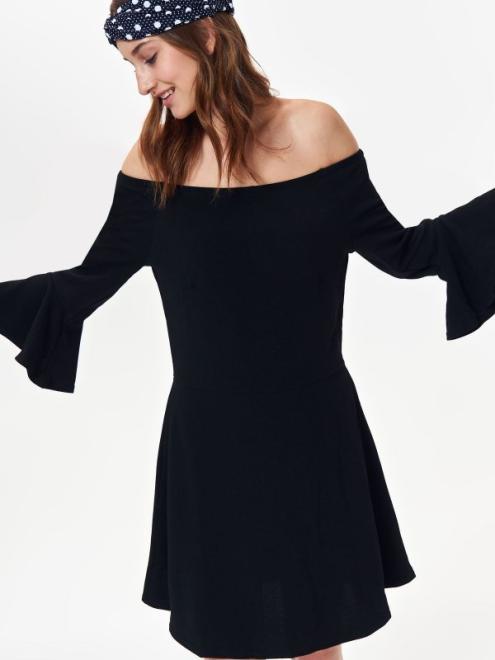 TROLL  sukienka damska z odkrytymi ramionami TSU0701 Платье Черный оптом