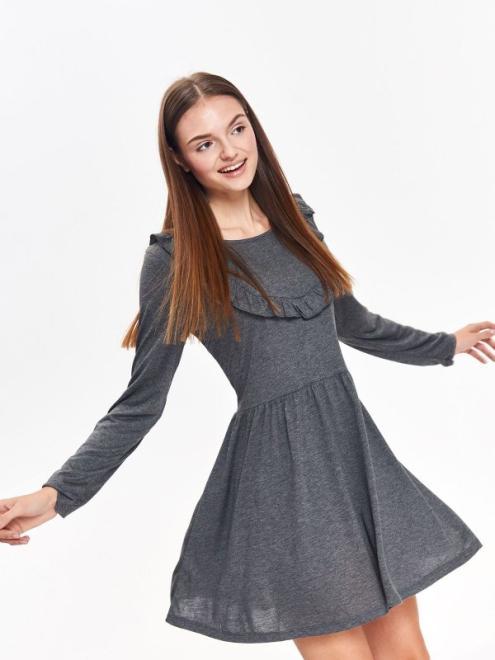 TROLL  sukienka damska z ozdobną falbaną TSU0709 Платье Серый оптом