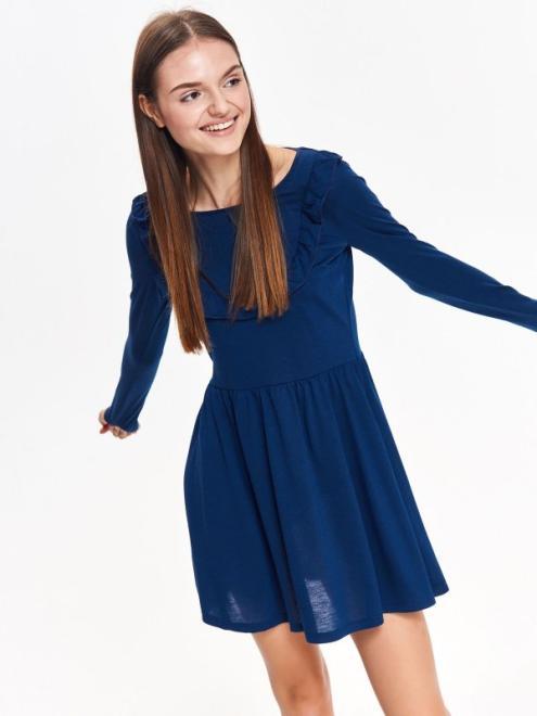 TROLL  sukienka damska z ozdobną falbaną TSU0710 Платье Темносиний оптом