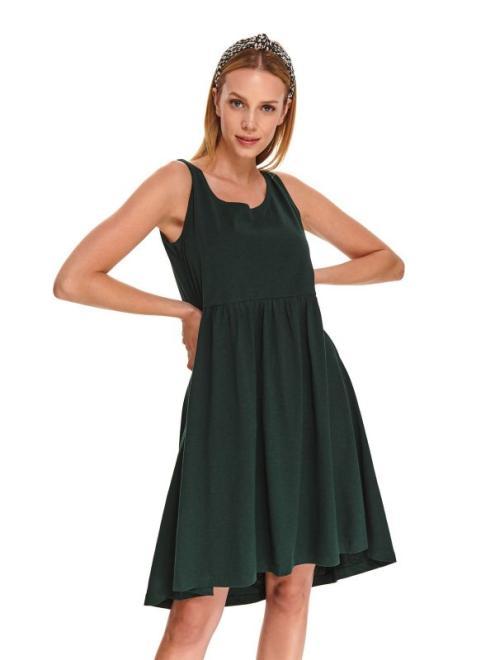 DRYWASH  DZIANINOWA SUKIENKA  NA RAMIĄCZKA Z ODCIĘTYMI FALBANAMI DSU0104 Платье Темнозеленый оптом