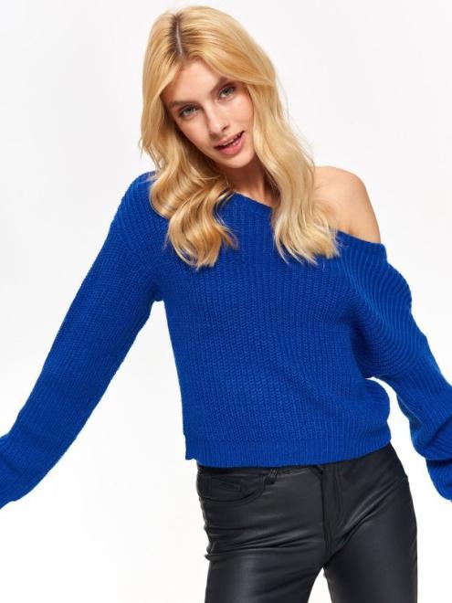 TROLL  sweter damski, z dekoltem w łódkę TSW0829 Свитер Голубой оптом