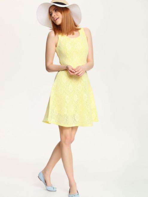 TROLL  sukienka damska we wzory TSU0526 Платье Желтый оптом