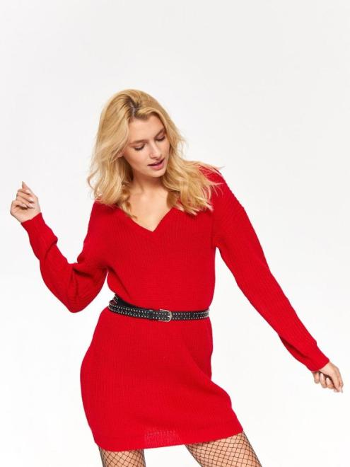 TROLL  sweter damski, długi TSW0831 Свитер Красный оптом