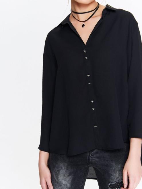 TOP SECRET  koszula damska z ozdobnymi guzikami, wiązana przy mankietach SKL2530 Рубашка Черный оптом