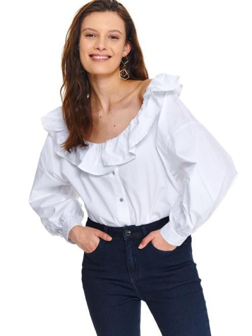 TOP SECRET  Koszula damska z falbaną przy dekolcie SKL3100 Рубашка Белый оптом