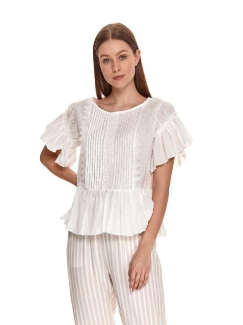 TOP SECRET  Plisowana bluzka z falbanami SBK2710 Блузка Белый оптом
