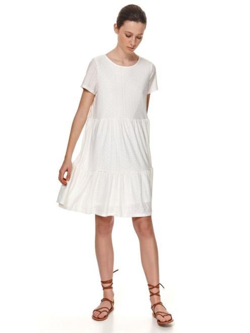 TOP SECRET  DZIANINOWA SUKIENKA Z BUFKAMI NA RAMIONACH SSU3607 Платье Белый оптом