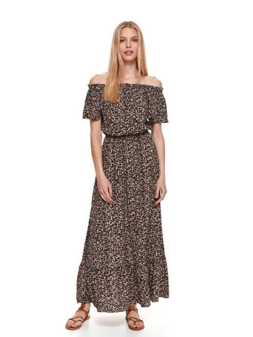 TOP SECRET  Długa sukienka cold shoulder w panterkę SSU3556 Платье Черный оптом