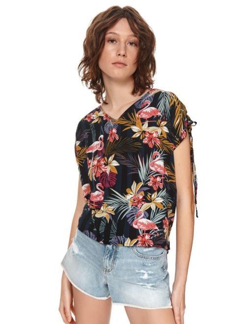 TOP SECRET  Bluzka damska z wiązaniem na rękawach w kolorowe kwiaty SKS1175 Рубашка Черный оптом