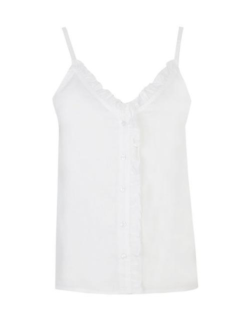 TOP SECRET  KOSZULKA NA RAMIĄCZKACH Z FALBANKĄ PRZY DEKOLCIE DKE0005 Рубашка Белый оптом