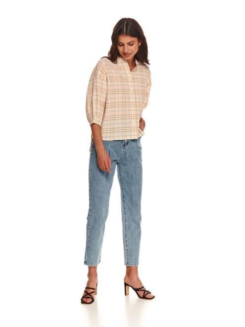 TOP SECRET  Krótka koszula damska w kratę z bufiastymi rękawami SKL3231 Рубашка Бежевый оптом