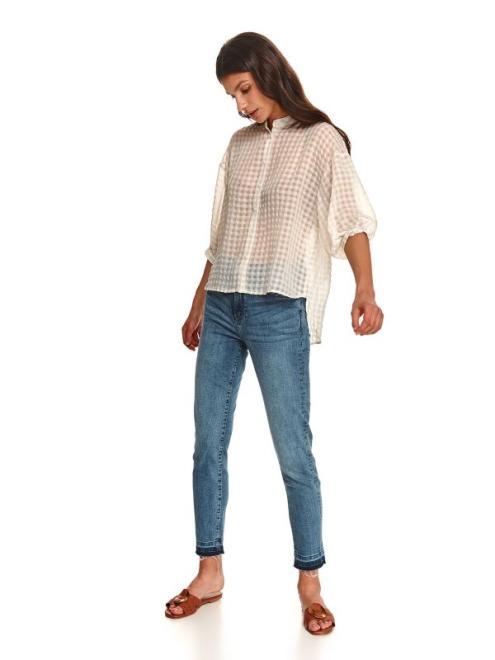 TOP SECRET  Koszula damska w kratkę z dłuższym tyłem SKL3237 Рубашка Белый оптом