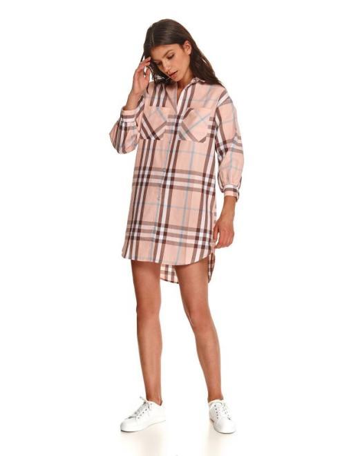 TOP SECRET  Koszulowa sukienka w kratę SSU3750 Платье Бежевый оптом