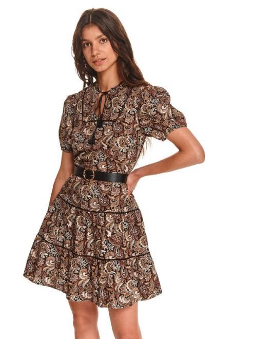 TOP SECRET  Krótka sukienka we wzory z paskiem w talii SSU3771 Платье Бежевый оптом