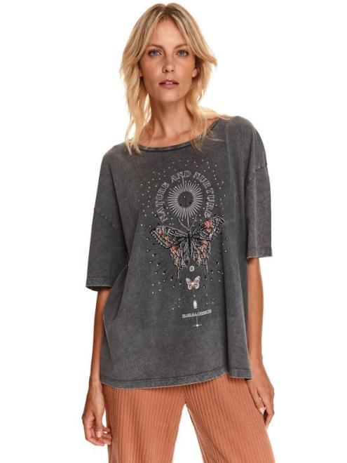 TOP SECRET  T-shirt oversize z ozdobną aplikacją z przodu SPO5253 Футболка Графит оптом