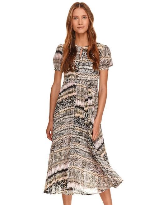 TOP SECRET  Sukienka z plisowanym dołem w drobny nadruk SSU3513 sukienki na lato Бежевый оптом
