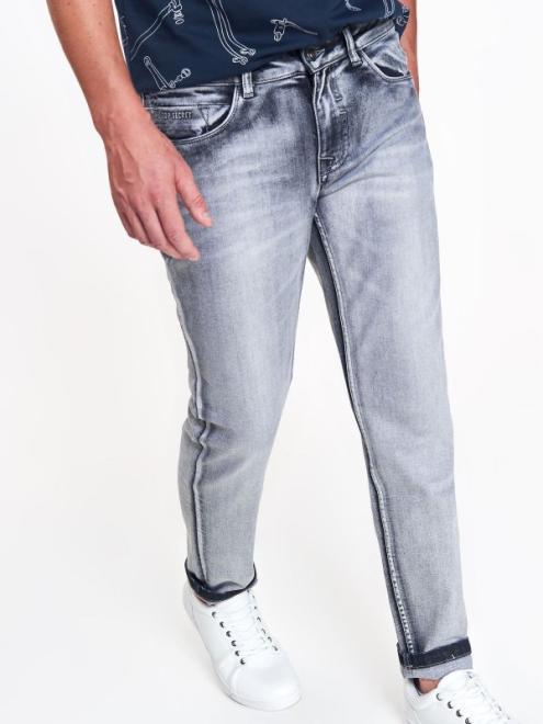 TOP SECRET  spodnie męskie jeansowe o dopasowanym kroju z przetarciami SSP2995 Брюки Серый оптом