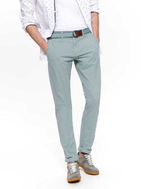 TOP SECRET  spodnie z paskiem typu chino dopasowane SSP3170 Брюки Светлозеленый оптом