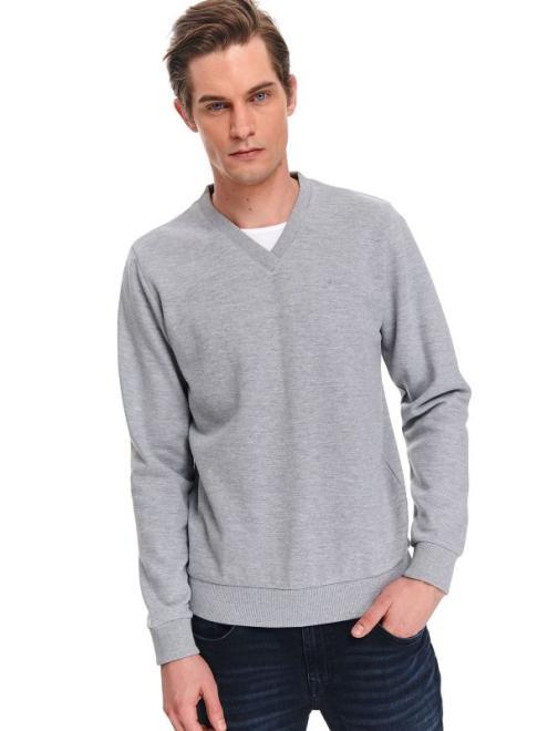 TOP SECRET  bluza gładka z kontrastowymi wstawkami SBL0764 Блуза Светлосерый оптом