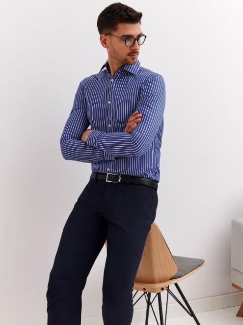 TOP SECRET  koszula w paski dopasowana SKL2796 Рубашка Голубой оптом