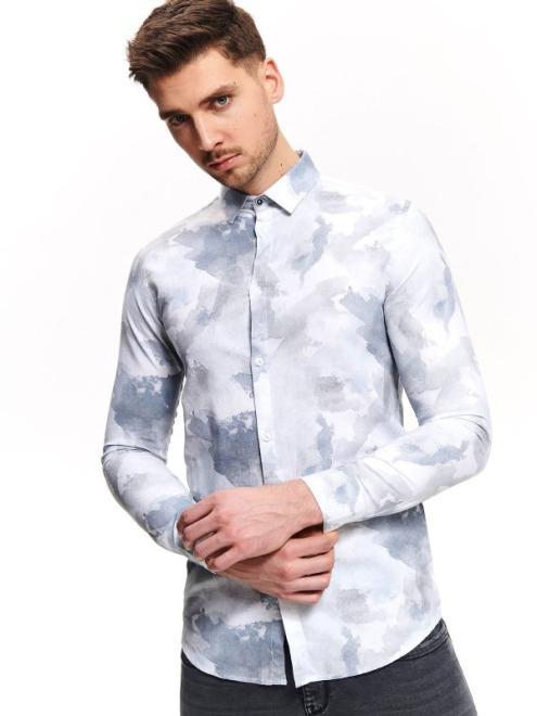 TOP SECRET  koszula z nadrukiem typu tie dye o kroju slim SKL2794 Рубашка Голубой оптом