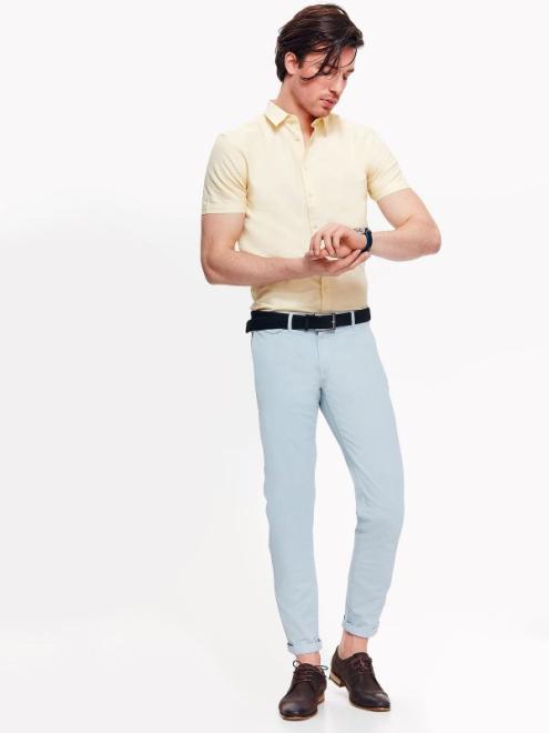 TOP SECRET  Koszula męska z tkaniny oxford o kroju slim SKS1021 Рубашка Желтый оптом