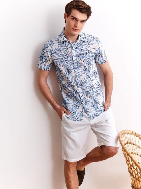 TOP SECRET  koszula we wzór o dopasowanym kroju SKS1133 Рубашка Белый оптом