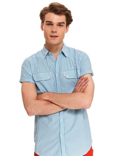 TOP SECRET  koszula w kratkę o regularnym kroju SKS1146 Рубашка Голубой оптом