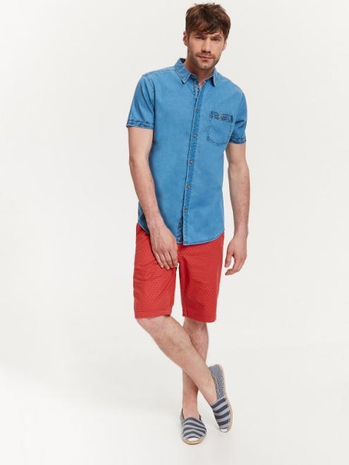 TOP SECRET  koszula krótki rękaw  męska slim fit SKL2352 Рубашка Голубой оптом
