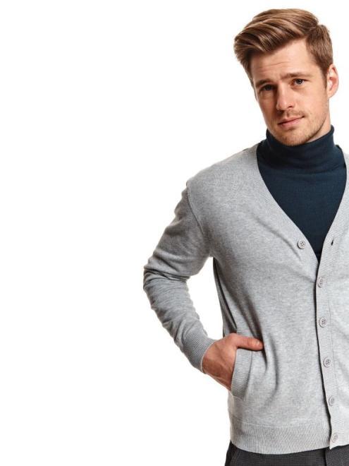 TOP SECRET  kardigan długi rękaw męski z guzikiem SSW3118 Свитер Светлосерый оптом