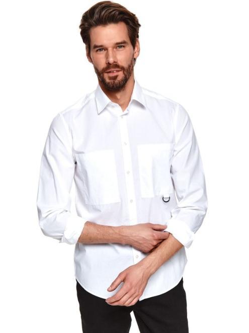 TOP SECRET  koszula długi rękaw  męska shaped fit SKL3204 Рубашка Белый оптом