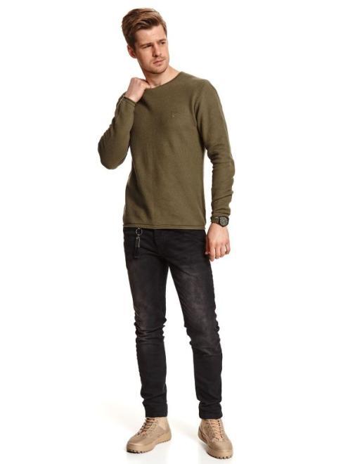 TOP SECRET  cienki sweter strukturalny SSW3119 Свитер Зеленый оптом