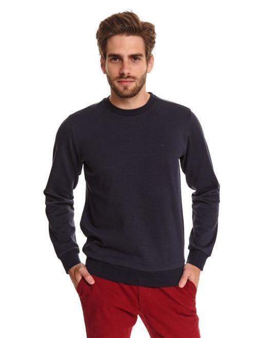 TOP SECRET  bluza klasyczna z dzianiny strukturalnej SBL0852 Блуза Темносиний оптом