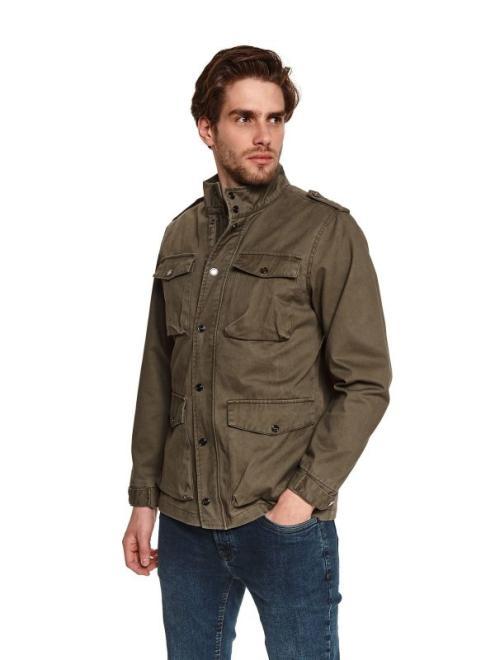 TOP SECRET  kurtka z tkaniny bawełnianej z kieszeniami SKU1206 Куртка Темнозеленый оптом