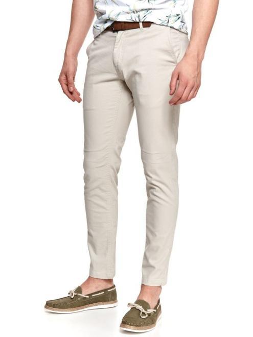 TOP SECRET  spodnie chino ze strukturalnej tkaniny SSP3761 Брюки Бежевый оптом