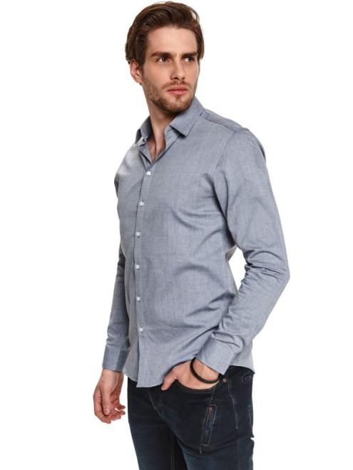 TOP SECRET  koszula z tkaniny oxford SKL3211 Рубашка Серый оптом
