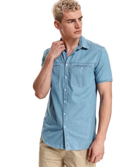 TOP SECRET  koszula krótki rękaw  męska shaped fit SKS1167 Рубашка Голубой оптом