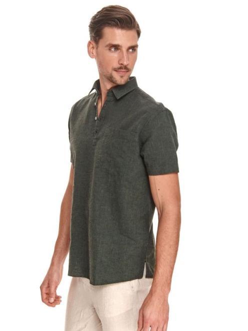 TOP SECRET  koszula z krótkim rękawkiem, z lnem SKS1162 Рубашка Темнозеленый оптом