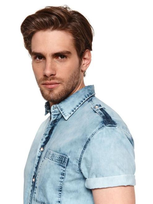 TOP SECRET  koszula z cienkiego denimu z krótkim rękawkiem SKS1160 Рубашка Голубой оптом
